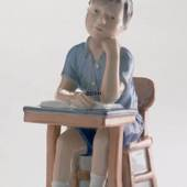 Boy goes to school, Royal Copenhagen figurine