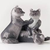 Three arctic fox cubs, Royal Copenhagen figurine
