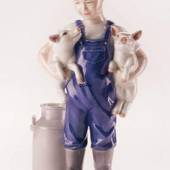 Boy with two piglets, Royal Copenhagen figurine