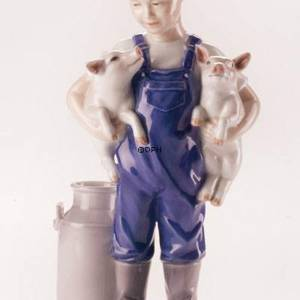 Boy with two piglets, Royal Copenhagen figurine | No. 1249449 | DPH Trading