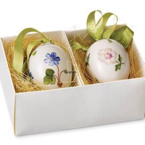 Easter Eggs, set of two, blue hepatica and pansy, Royal Copenhagen Easter E...