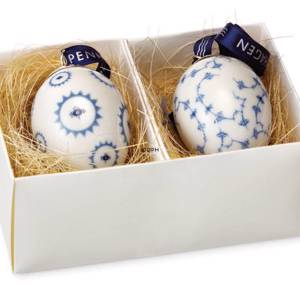 Easter Eggs, set of two, Blue Fluted Flower in circle/meandering | No. 1249477 | Alt. R1249477 | DPH Trading