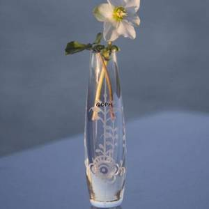 Glass vase solitaire with bluefluted relief, clear, Royal Copenhagen
