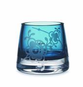 Glass tealight holder with Blue Fluted Decor in relief, blue, Royal Copenha...