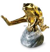 Gold frog sitting on stone, Royal Copenhagen figurine