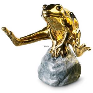 Gold frog sitting on stone, Royal Copenhagen figurine | No. 1249555 | DPH Trading