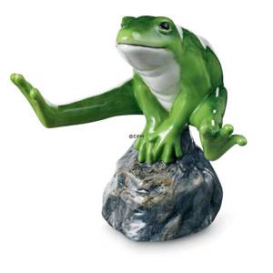 Green frog sitting on stone, Royal Copenhagen figurine