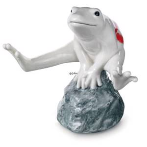 White frog with kiss, sitting on stone, Royal Copenhagen figurine | No. 1249558 | DPH Trading