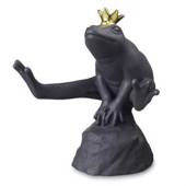 Black frog with golden crown sitting on stone, Royal Copenhagen figurine