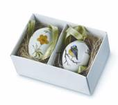 Easter Egg with bluetit and yellow anomone, set of two, Royal Copenhag...