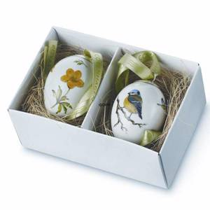 Easter Egg with bluetit and yellow anomone, set of two, Royal Copenhagen Ea...