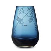 Glass vase with Blue Fluted Decor in relief, blue, Royal Copenhagen, 17cm