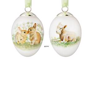 Easter egg with lamb and leveret, set of two, Royal Copenhagen Easter Eggs ...