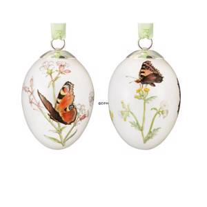 Easter egg with butterflies, Tortoiseshell and peacock, set of two, Royal C...
