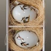 Easter eggs with birds, swollow and vibe, 2 pcs., Royal Copenhagen Eas...