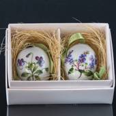 Porcelain egg with flowers, 2 pcs. Royal Copenhagen Easter Egg 2015