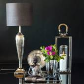 Table lamp Nickel Finish (silver look) without lampshade, 62 cm