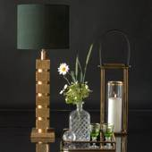 Table lamp Brass Finish with cubes without lampshade