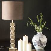 Table lamp Nickel Finish (Rustik Silver Look), with cubes without lampshade...