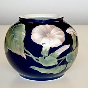 Vase with bindweed on blue ground, Royal Copenhagen