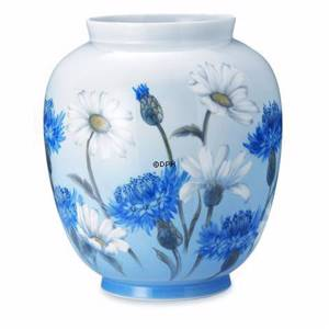 Vase with daisies and cornflower, Royal Copenhagen
