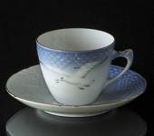 Seagull Service with gold Espresso Cup and Saucer, capacity 7,5 cl, Bing & ...