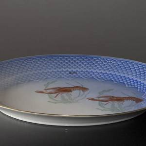 Seagull with gold, serving dish, large, with crayfish, Bing & Grondahl Royal Copenhagen 39cm | No. 1303375-F | DPH Trading