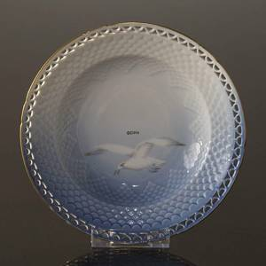 Seagull with gold, Soup plate 21 cm full lace, Bing & Grondahl - Royal Cope...
