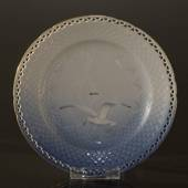 Seagull with gold, flat plate 18 cm full lace, Bing & Grondahl - Royal Cope...