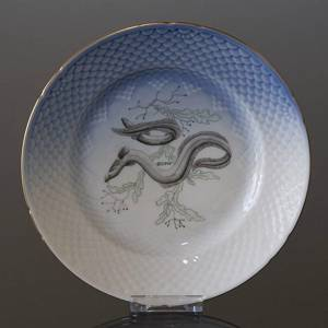 Seagull with gold, fish plate, Bing & Grondahl - Royal Copenhagen 21cm