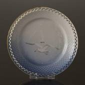 Seagull with gold, plate full lace, Bing & Grondahl - Royal Copenhagen