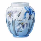 Vase with blue and white iris, Royal Copenhagen