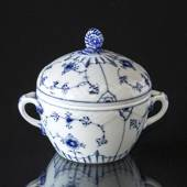 Blue traditional sugar bowl, small, 10cm, Blue Fluted Bing & Grondahl