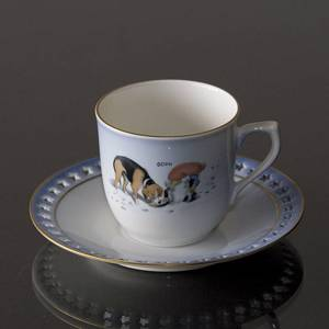 Wiberg Christmas Service, cup and saucer, pixie and dog, Bing & Grondahl | No. 1502071 | Alt. 3502-305 | DPH Trading