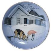 Wiberg Christmas Service, plaquette / Butter plate nr. 2, pixie and dog, Bi...