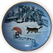 Wiberg Christmas Service, plaquette / Butter plate no.3, pixie and cat, Bin...