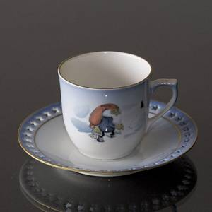 Wiberg Christmas Service, cup and saucer, pixie and cat, Bing & Grondahl | No. 1505071 | Alt. 3505-305 | DPH Trading