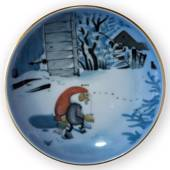 Wiberg Christmas Service, plaquette / Butter plate no. 5, pixie and cat, Bi...