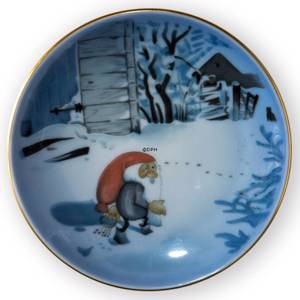 Wiberg Christmas Service, plaquette / Butter plate no. 5, pixie and cat, Bing & Grondahl | No. 1505709 | Alt. 3505-5709 | DPH Trading