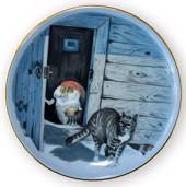 Wiberg Christmas Service, plaquette / Butter Plate no. 6, pixie and cat
