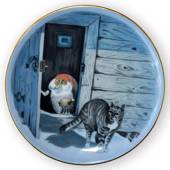 Wiberg Christmas Service, plaquette / Butter Plate no. 6, pixie and cat, Bi...