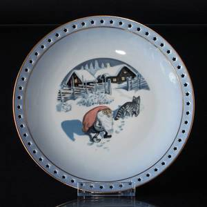 Wiberg Christmas Service, plate 24 cm with pixie and cat