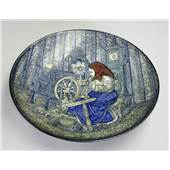 Michael Andersen & Son Large Dish with woman spinning flax No. 4106-2