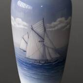 Vase with large sailboat, Royal Copenhagen