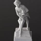 The Sandman standing with his umbrella, Royal Copenhagen Whites, figurine