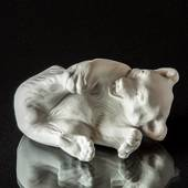 Polar bear white bisquite, Royal Copenhagen lying polar bear figurine