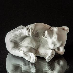 Polar bear white bisquite, Royal Copenhagen lying polar bear figurine | No. 2670072 | DPH Trading