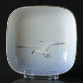 Service, Seagull with gold, square dish, Bing & Grøndahl 11cm
