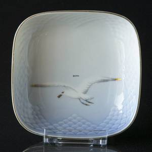 Service, Seagull with gold, square dish, Bing & Grøndahl 11cm | No. 3-333 | Alt. 3-194 | DPH Trading