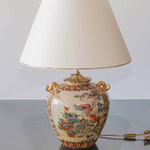 Chinese table lamp with birds and flowers